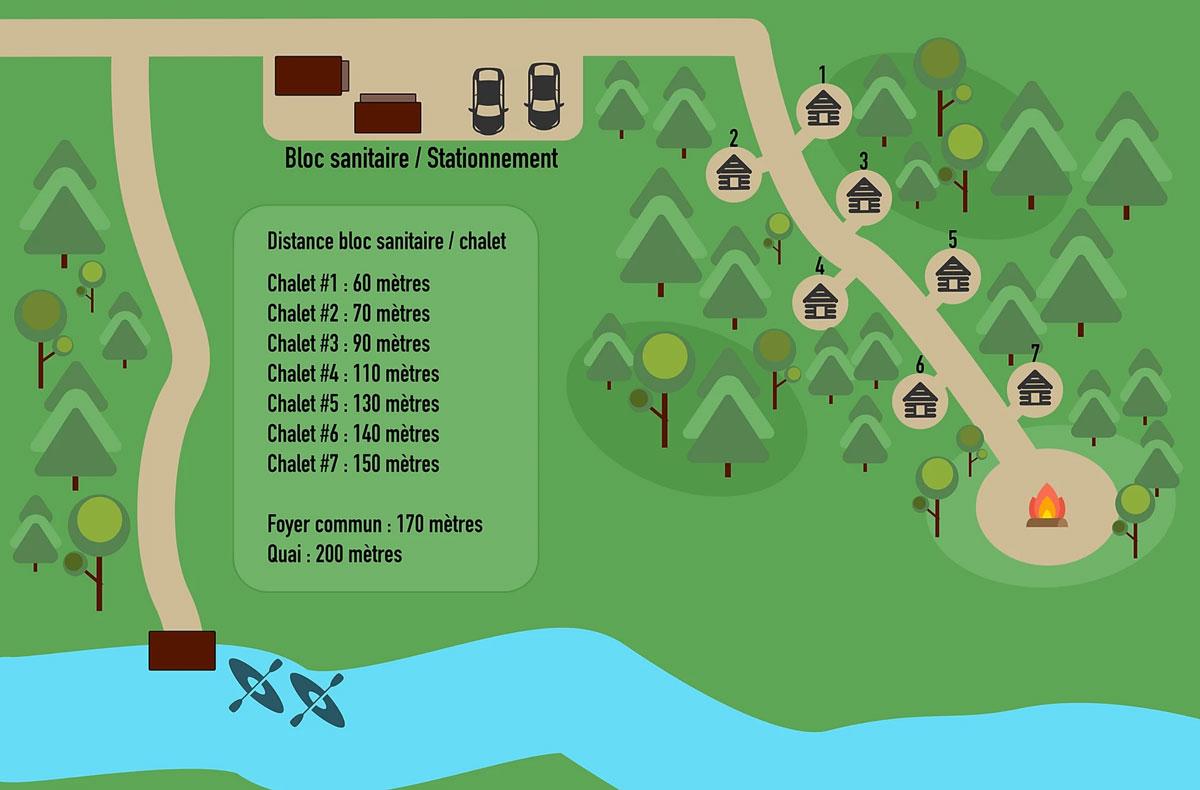 Plan du site - Micro-Chalets des Appalaches